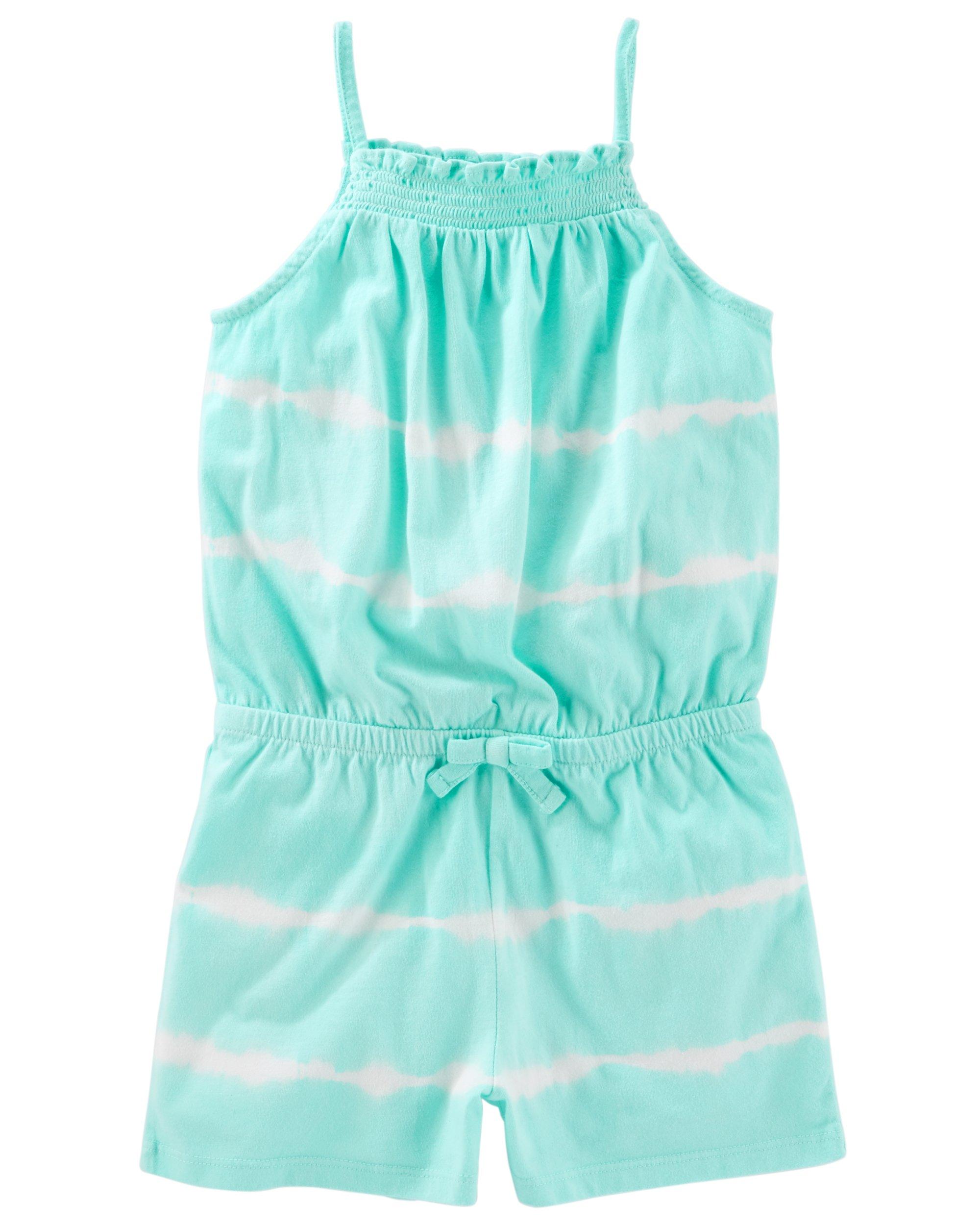 Osh Kosh Girls' Toddler Sleeveless Romper, Mint, 5T by OshKosh B'Gosh