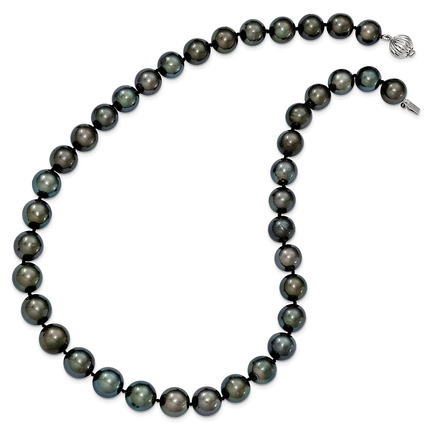 14k White Gold 19in 10-12mm Off-round Black Tahitian Pearl Graduate Necklace