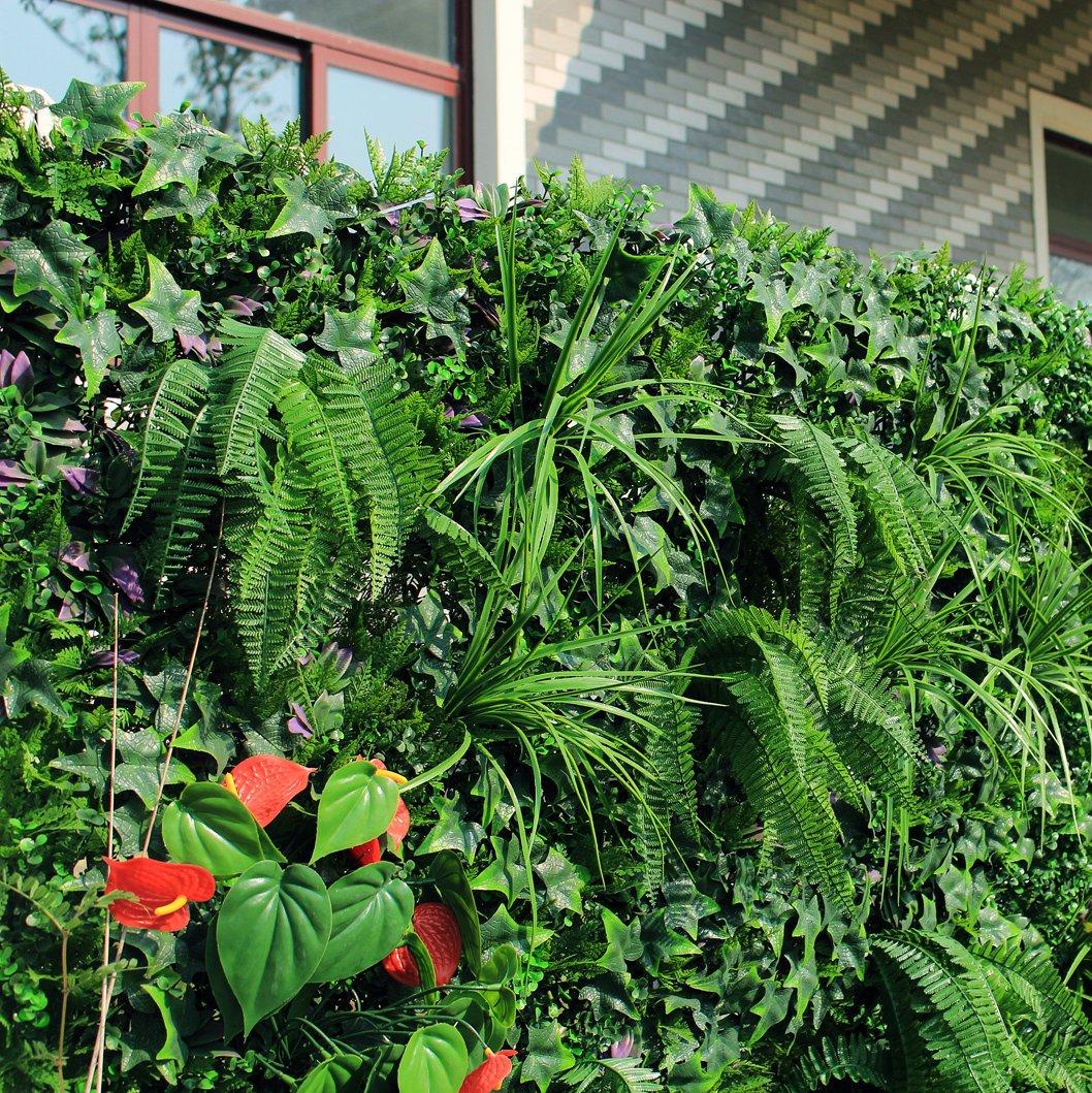 Uland Künstliche Efeuhecke Pflanzen Blumen Sichtschutz Dekorative