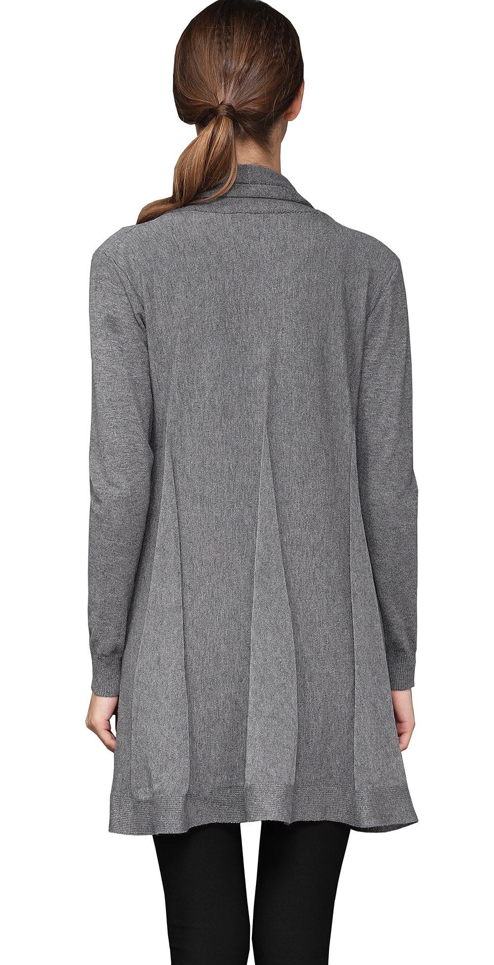shengweiao Womens Long Sleeve Classic Knit Cardigan Sweater (Large, Dark Grey) by shengweiao (Image #3)