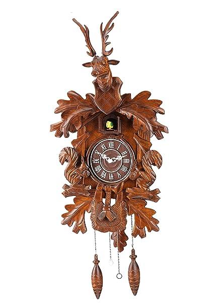 Deluxe 17 pulgadas gran cabeza de alce tallada reloj de cuco modelado tridimensional diseño de pajarera