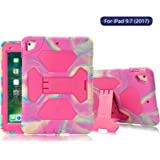 ACEGUARDER New iPad 9.7 2017 Case [Impact Resistant] [Shockproof] [Heavy Duty] Full Body Rugged Protective Cover with Kickstand & Dual Layer Design for Apple New iPad 9.7 inch 2017 (Pink Camo/Rose)