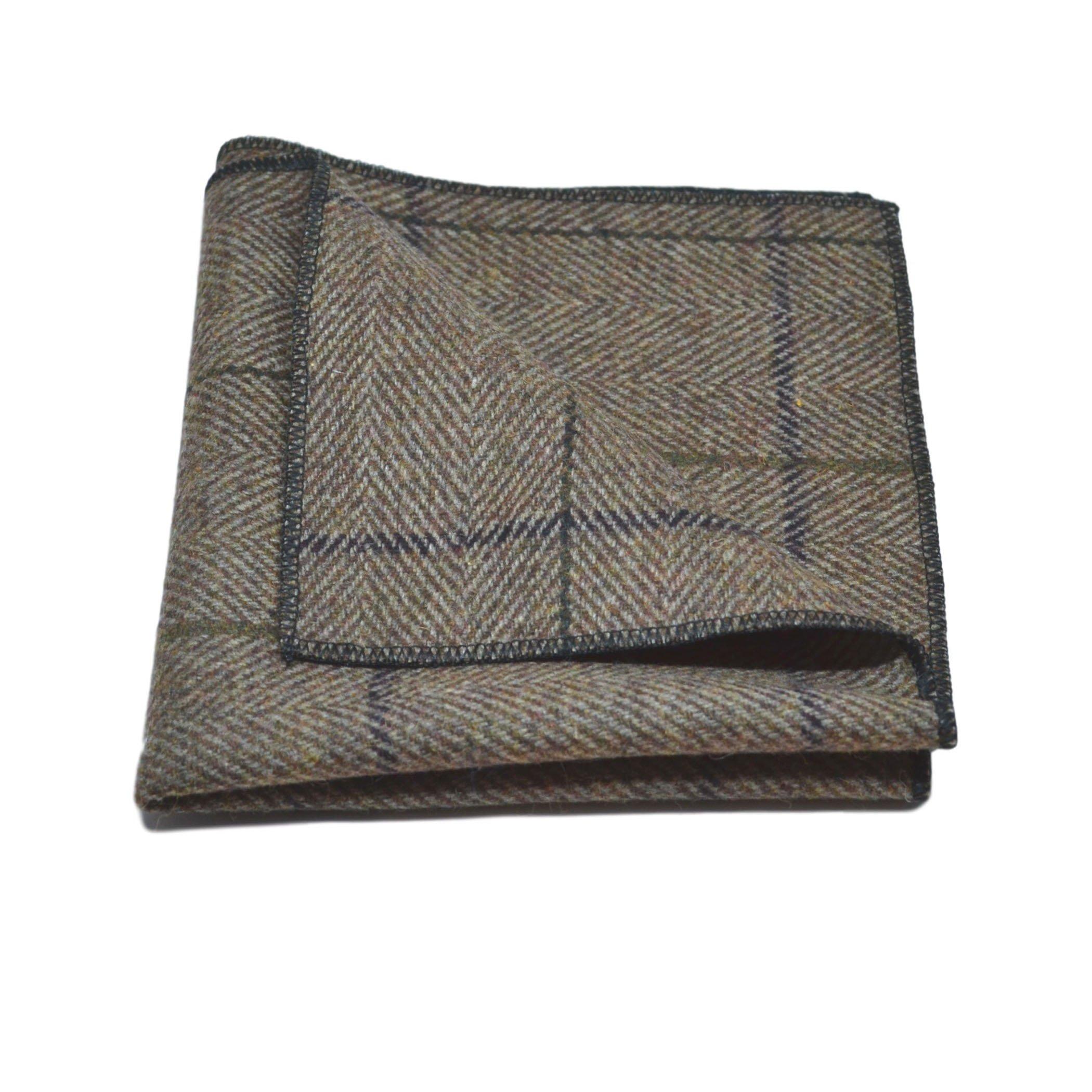 Luxury Peanut Brown Tweed Pocket Square, Handkerchief