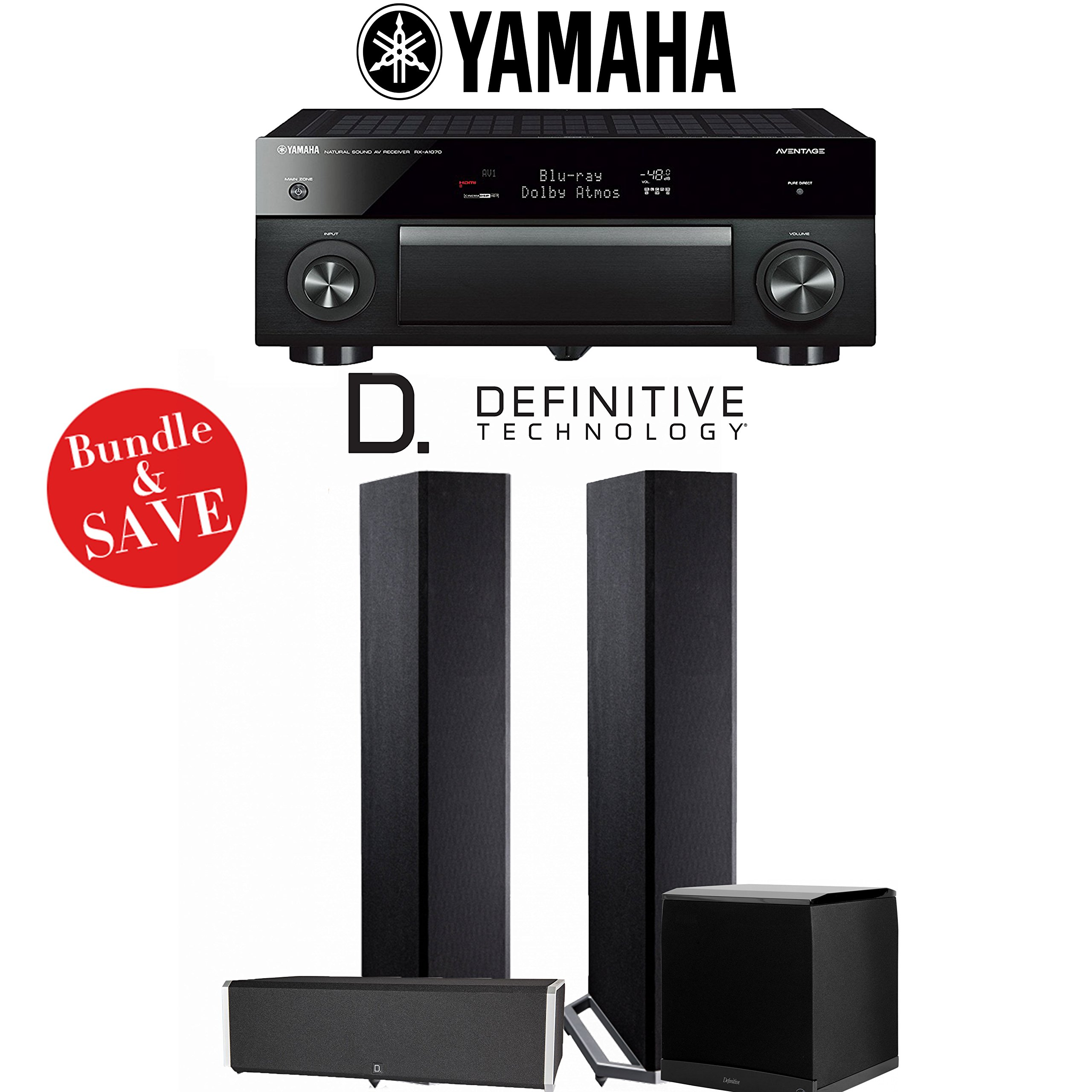 Yamaha AVENTAGE RX-A1070BL 7.2-Channel 4K Network AV Receiver + Definitive Technology BP9020 + Definitive Technology CS9040 + Definitive Technology SuperCube4000 - 3.1-Ch Home Theater Package by Definitive Technology