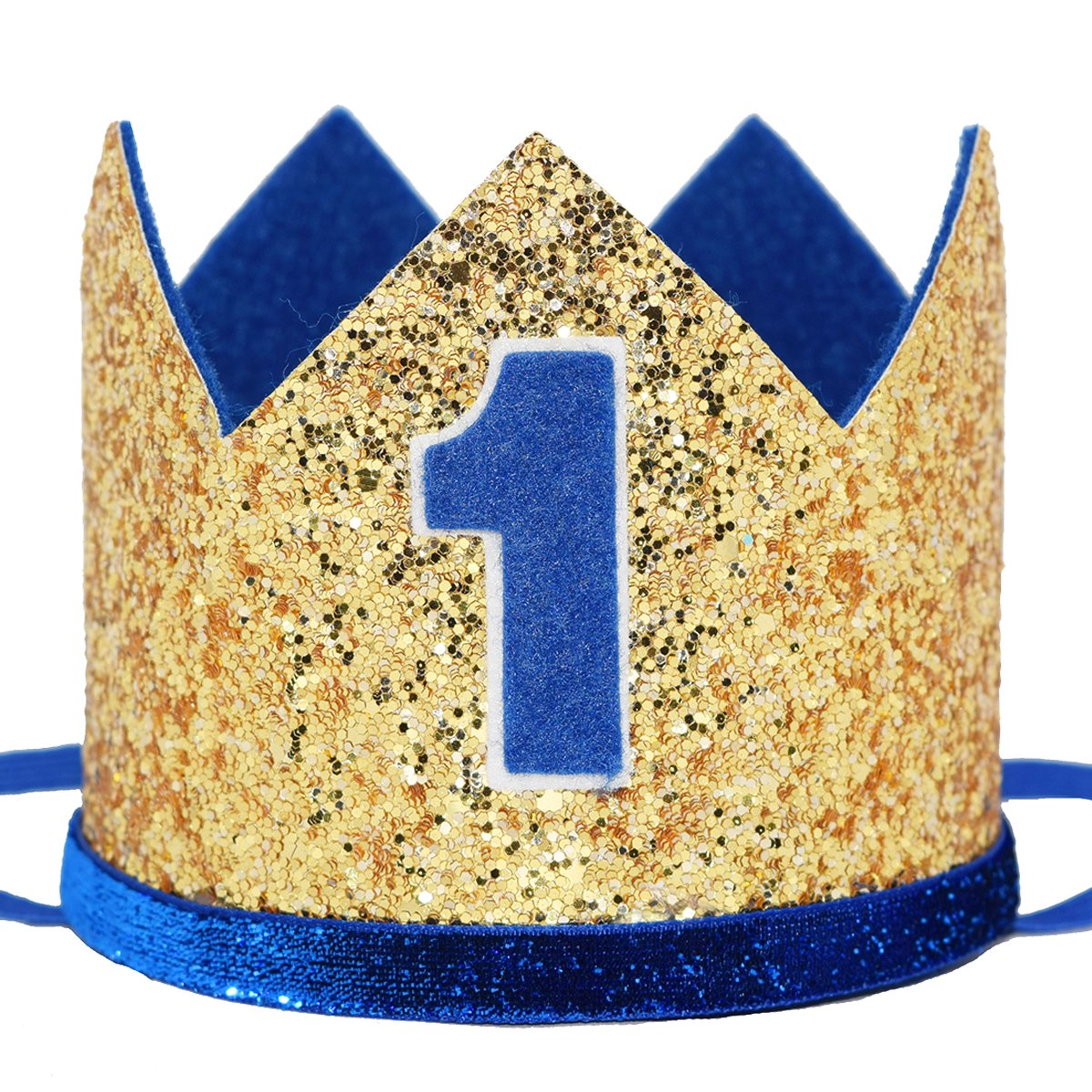 Maticr Glitter Baby Boy First Birthday Crown Number 1 Headband Little Prince Princess Cake Smash Photo