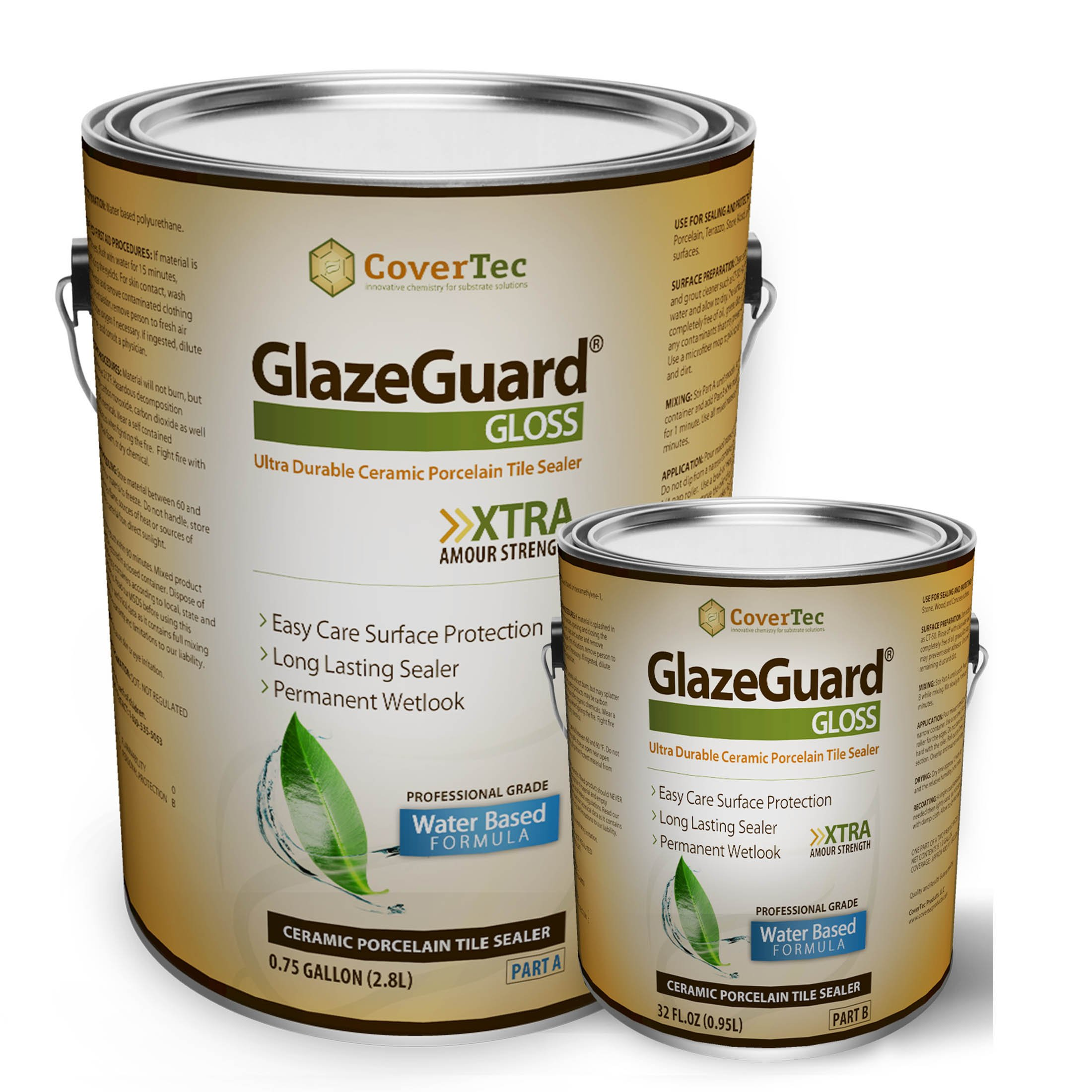 GlazeGuard Gloss Floor Sealer Wall Sealer for Ceramic, Porcelain, Stone Tile Surfaces (1 Gal -Prof Grade (2) Part Kit)