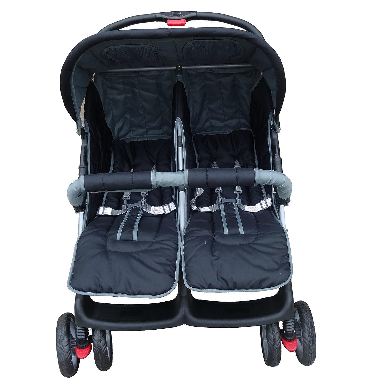 Lujoso tandem-cochecito para gemelos negro BambinoWorld