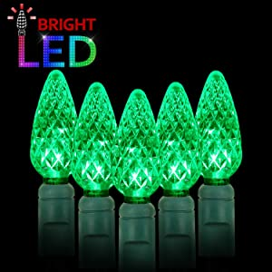 AIDDOMM LED Christmas Lights 70 Counts C6, for Outdoor and Indoor, Green Light, Green Wire, 6in Spacing, 35.5ft, UL Listed