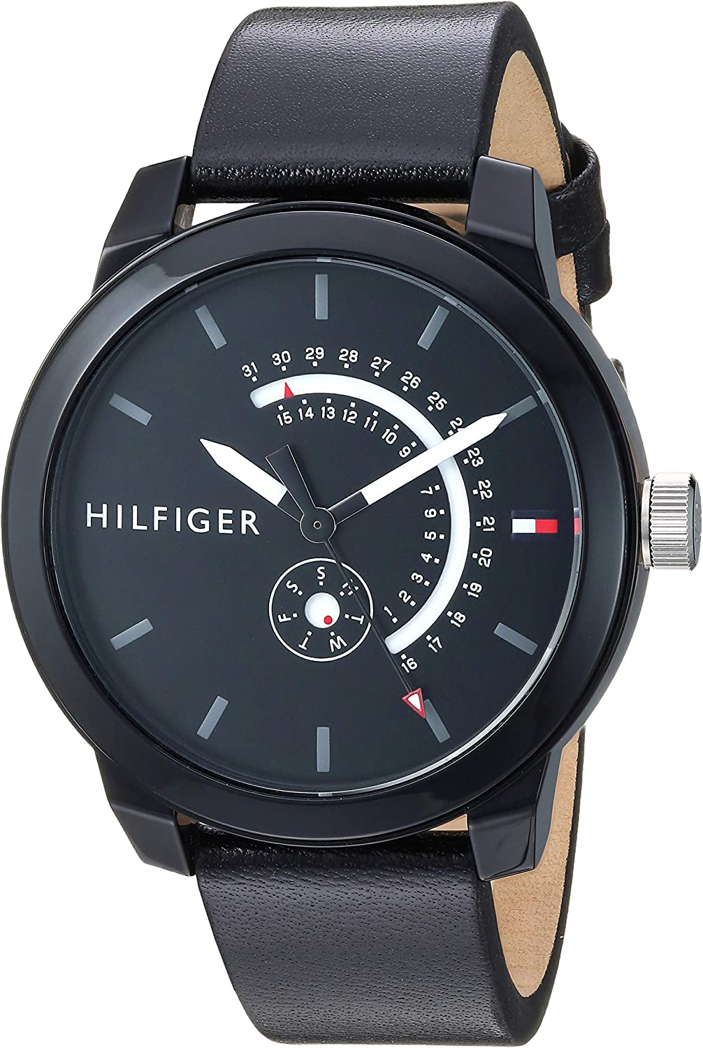 Tommy Hilfiger Mens Quartz Watch with Leather Calfskin Strap  Black  18 8  Model  1791479