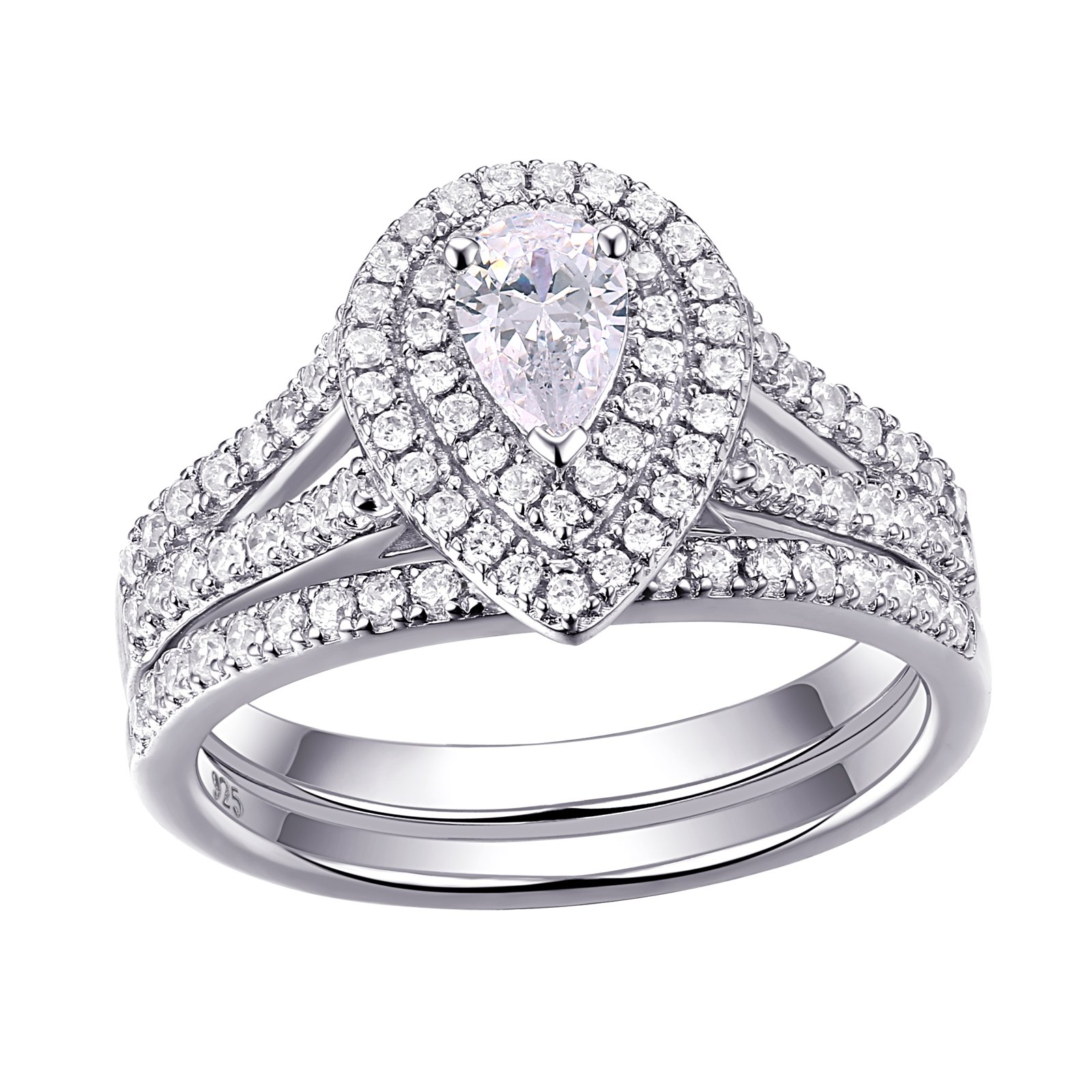 Newshe Wedding Engagement Ring For Women Bridal Set 925 Sterling Silver 1.3ct Pear White AAA Cz Size 9