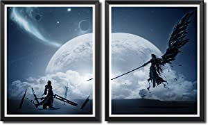 Yansang FF7 Final Fantasy Game Art Prints Wall Art Picture for Bedroom Home Decor Canvas Print Poster,8 x 10 Inches,Set of 2 Pieces,No Frame