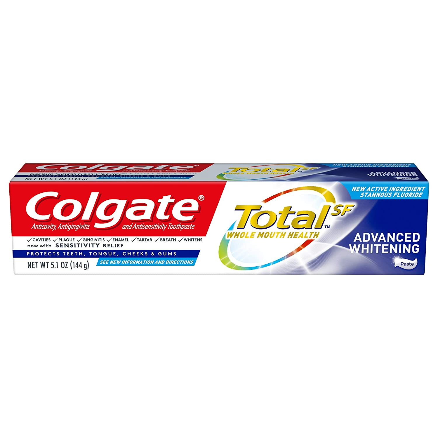 Colgate Total Whitening Toothpaste, Advanced Whitening, 5.1 Ounce