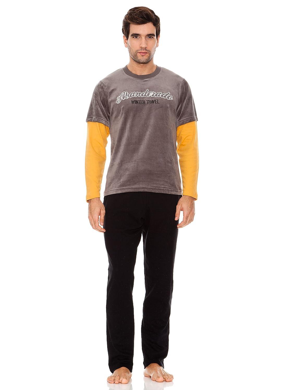 Abanderado Pijama Caballero Plomo Gris/Negro / Amarillo M: Amazon.es: Ropa y accesorios