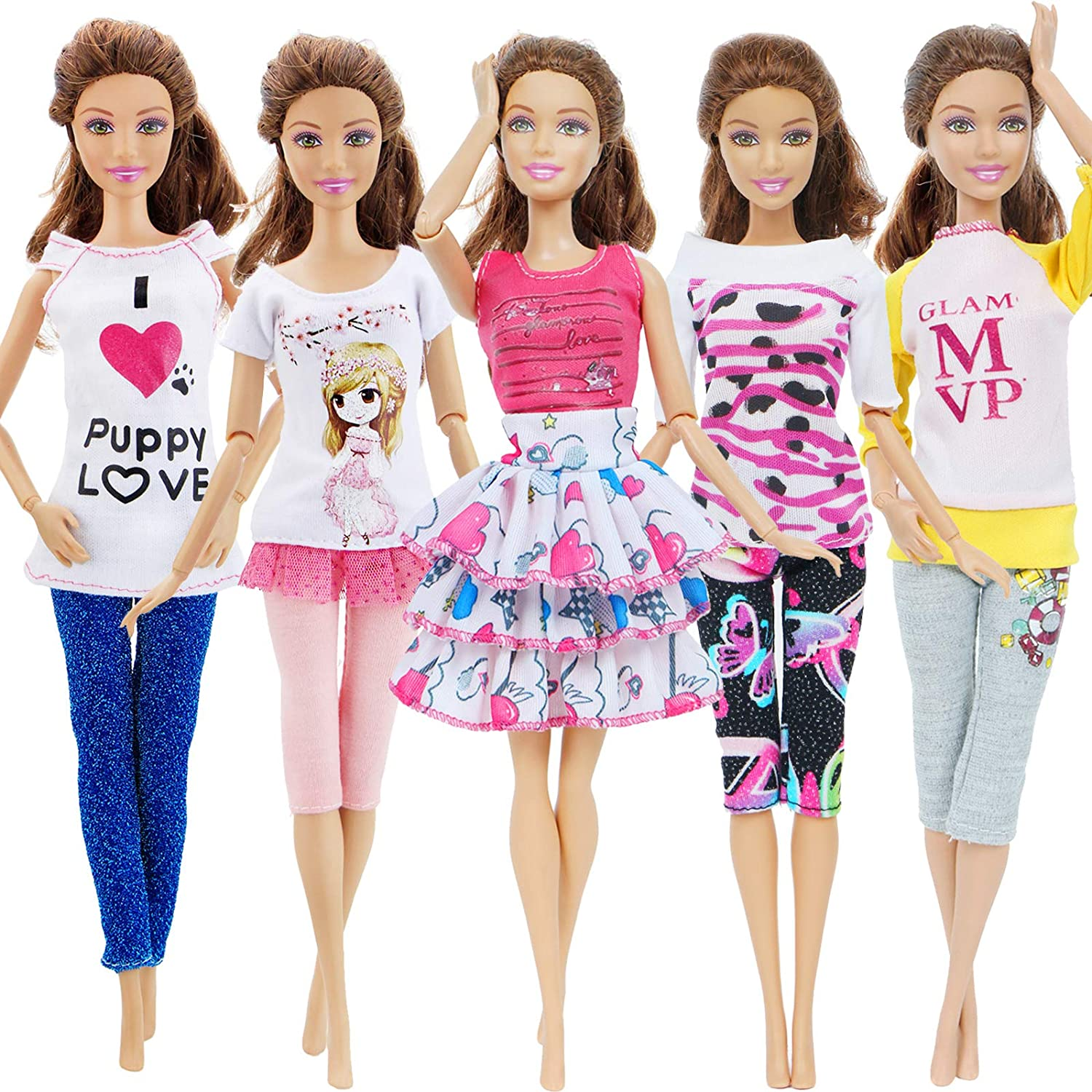 """Pants 5 Sets Clothes for 11.5/"""" Girl Doll Mix Shirt 5 Pairs Shoes Acces Random"""