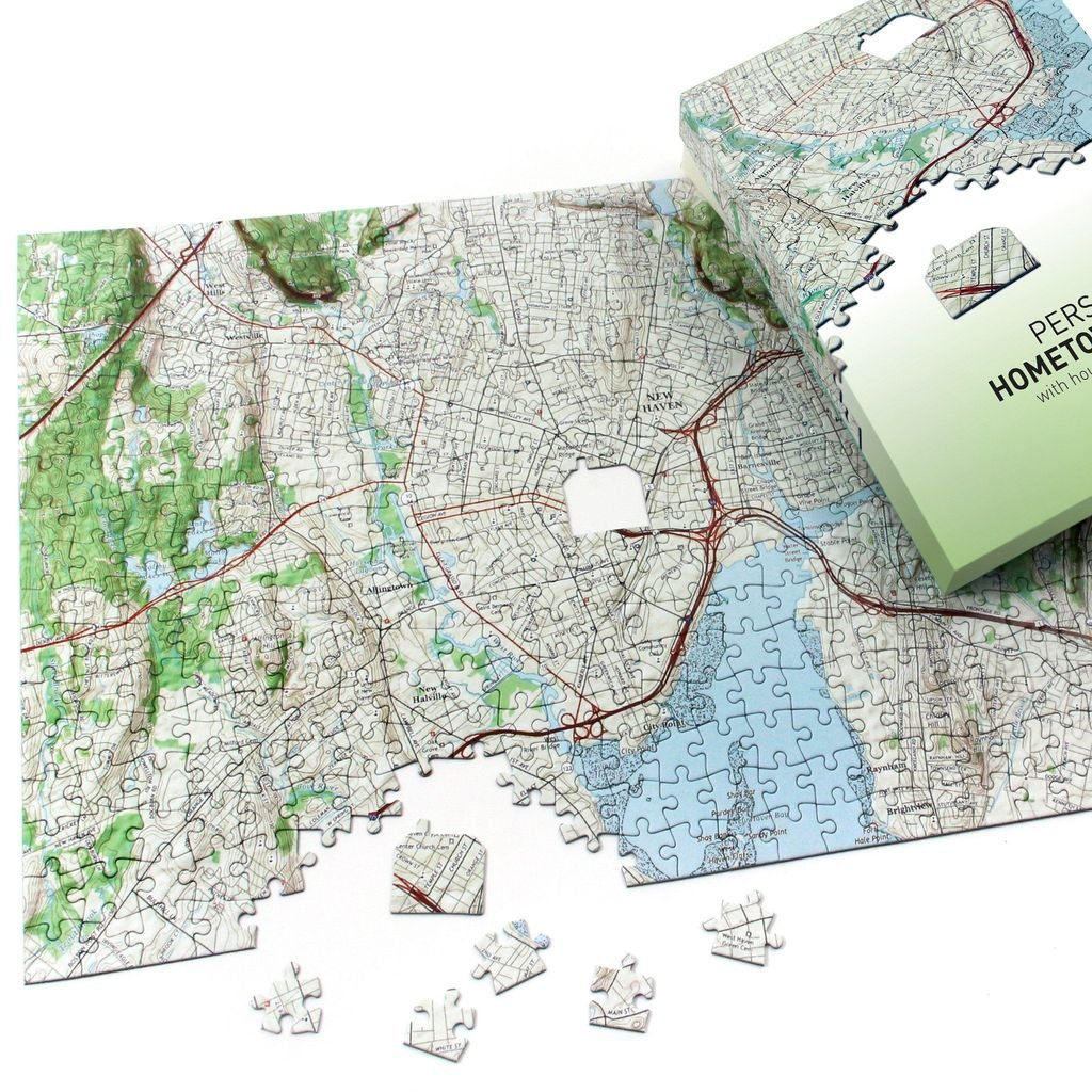 Personalized ' My Hometown' Map Jigsaw Puzzle (USGS Mapping) by Map Marketing