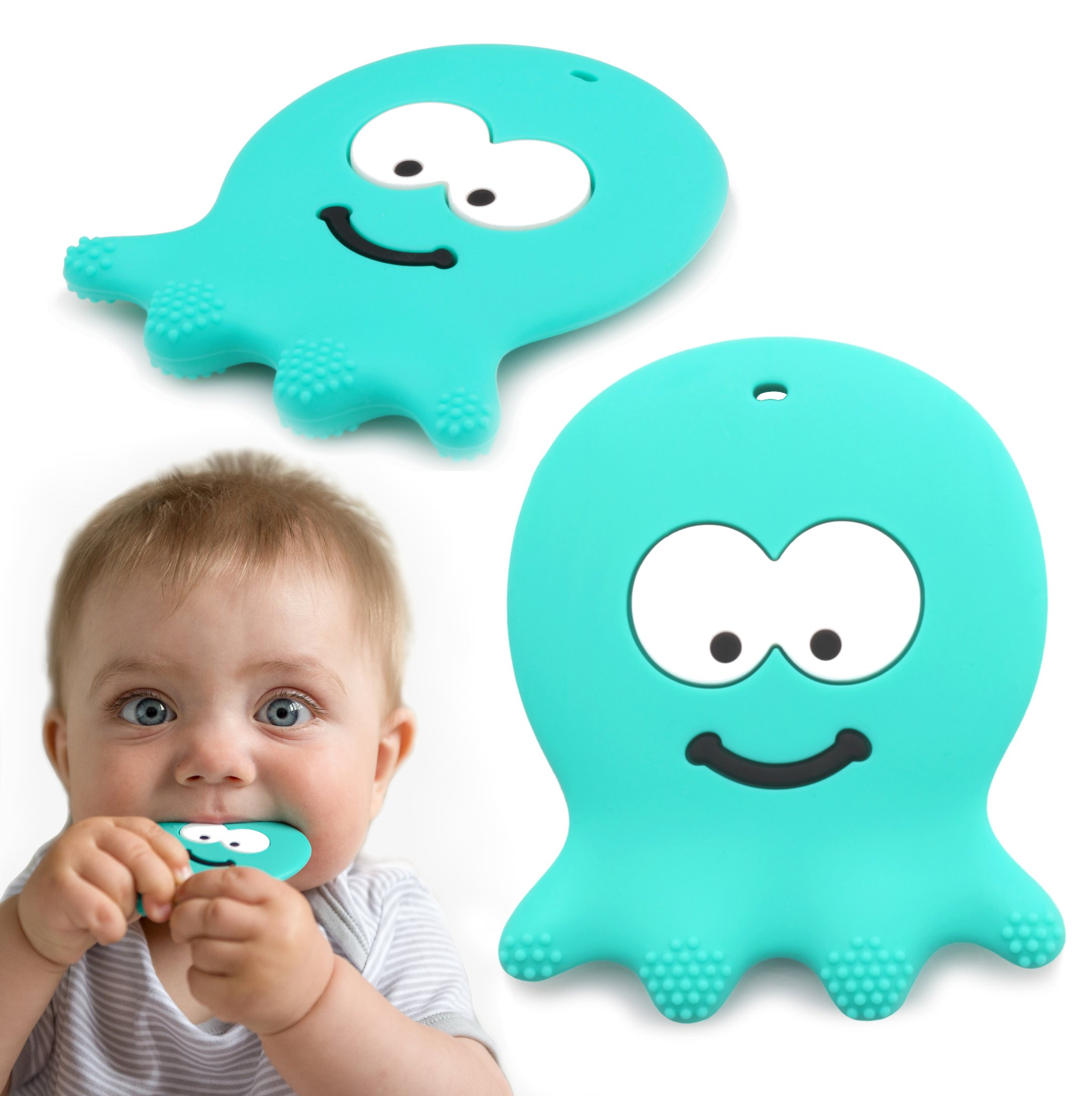 6 Month Old Baby Toys - Adorable Teething Octopus - Best Sensory Learning Teether For Girl Or Boy Infant Newborn 3 / 12 Months / 1 Year Old - BPA Free Silicone - Cool Baby Shower And Easter Gifts