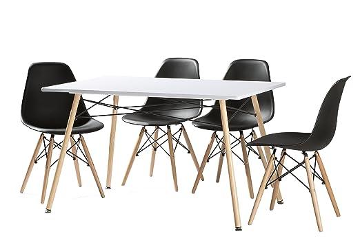 cmc Conjunto de Comedor 4 sillas nordicas Negro Patas de Madera y ...