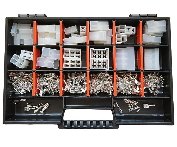 Set Gehäuse Flachsteckhülsen//Flachstecker 6,3x0,8 Crimpzange 215 Teile