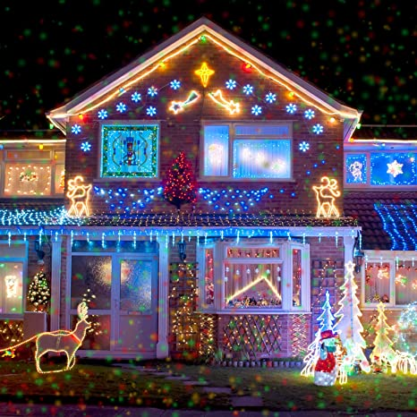 christmas lights projector 10 piece pattern multicolor rotating led xmas light for outdoor decoration and