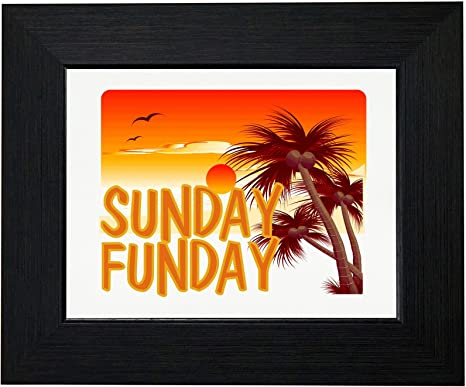 Amazon Com Royal Prints Sunday Funday Beautiful Beach Landscape Graphic Framed Print Poster Wall Or Desk Mount Options Posters Prints