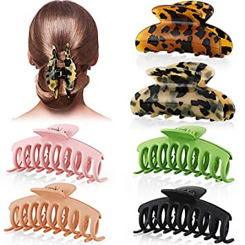 Amazon Com 6 Pieces Banana Hair Claw Clips Tortoise Hair Clips Nonslip Large Big Hair Claw Barrettes Celluloid French Style Leopard Print Hair Accessories For Women And Girls 2 Styles Beauty