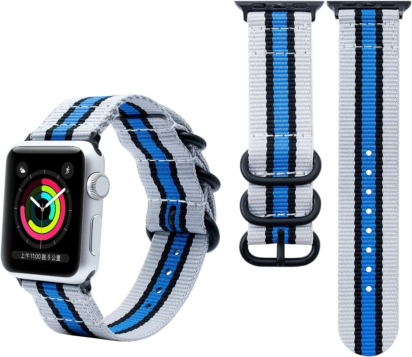 PlusYard Nylon Band Compatible with Apple Watch Band 42mm 44mm, NFL Football Team Lightweight Breathable Soft Sport Wristband Strap Replacement Woven Bands Compatible for iWatch Series 1/2/3/4/5/6/SE