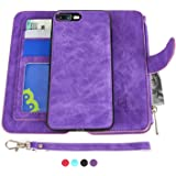 iPhone 7 Plus Case, iPhone 8 Plus Case, [Detachable Wallet Folio][2 in 1][ Zipper Cash Storage ][ Up to 14 Card Slots 1 Photo Window ] PU Leather Purse with Removable Inner Magnetic TPU Case - Purple