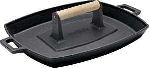 Bayou Classic 7455 Cast Iron Baking Pan and Bacon Press Set