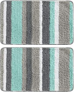 "mDesign Soft Microfiber Polyester Non-Slip Spa Mat, Plush Water Absorbent Accent Rug for Bathroom Vanity, Bathtub/Shower - Machine Washable, Striped Design, 34"" x 21"" - 2 Pack - Mint Green/Gray"