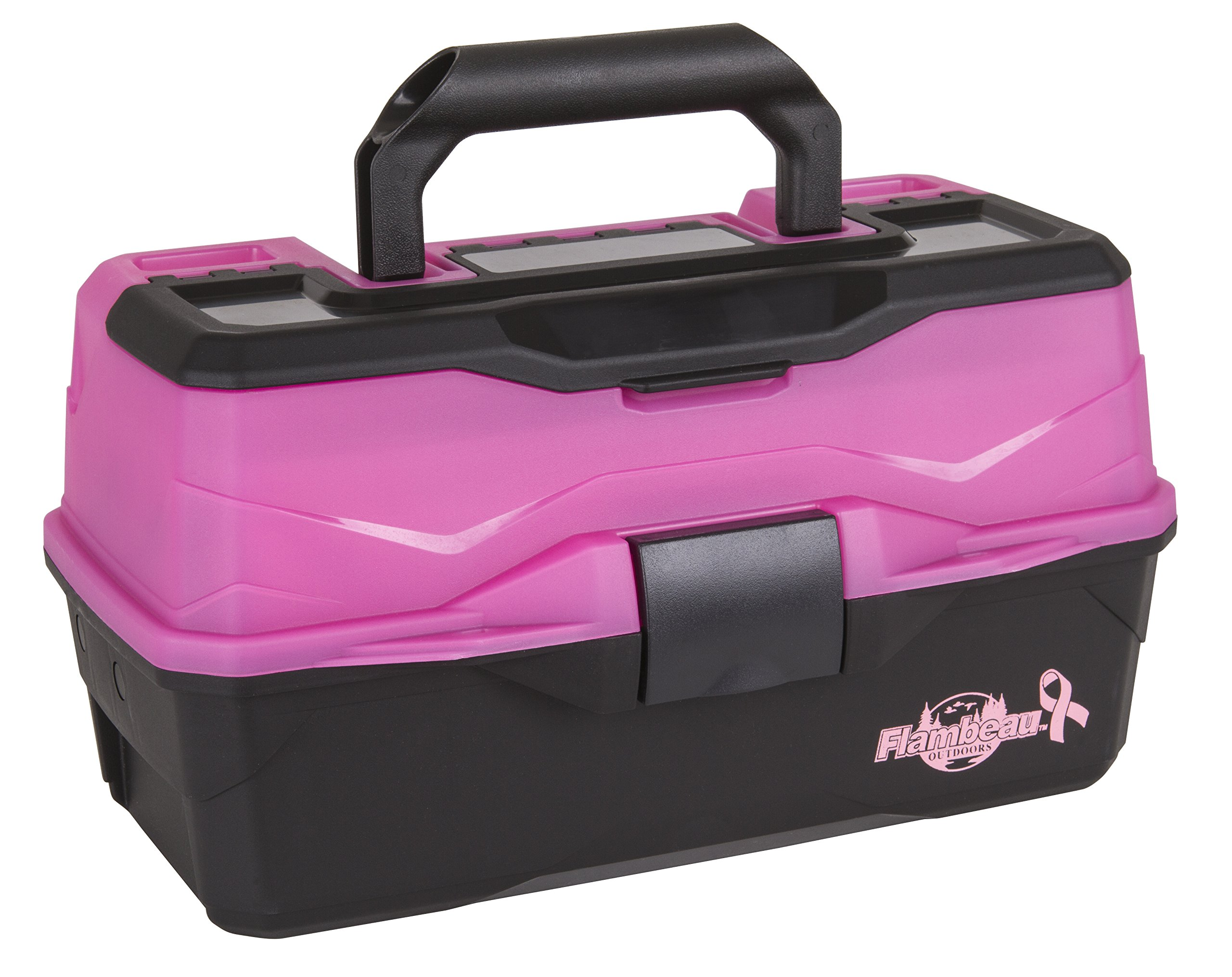 Flambeau Outdoors 6382 Classic 2-Tray Tackle Box, Frost Pink/Black