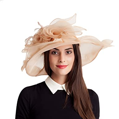 7dc6637b Womens Kentucky Derby Feathers Fascinators Bridal Organza Tea Party Wedding  Sun Hats (004 Khaki)