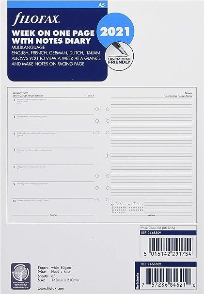 enero a diciembre de 2021, formato A5, 14,8 x 21 cm, 4 idiomas por p/ágina Recambio para organizador Filofax 68517