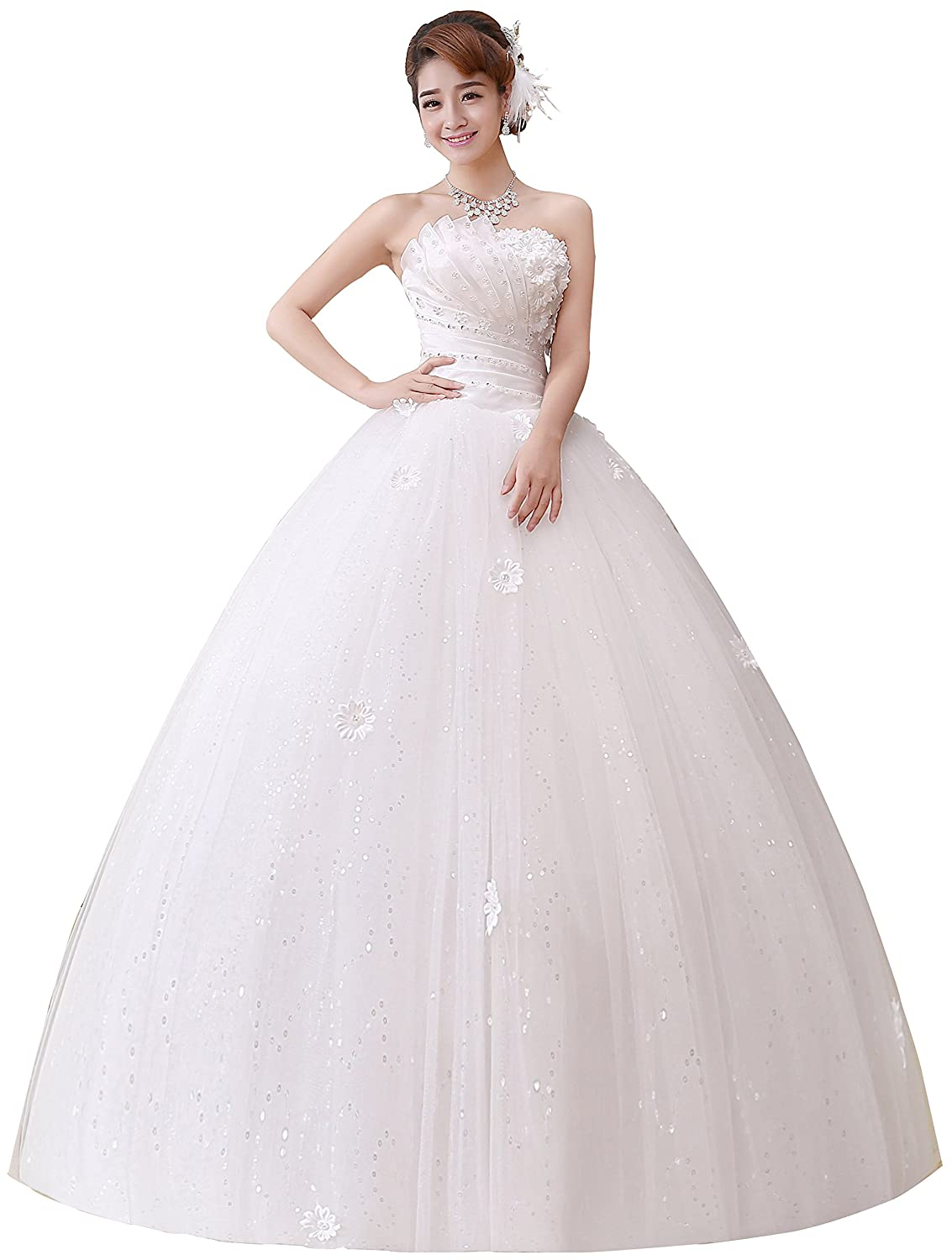 Clover Bridal 2017 Strapless Applique Beaded Pleats Ball Gown Wedding Dress Ivory Pure White At Amazon Women's Clothing Store: Unique Ball Gown Wedding Dresses At Reisefeber.org