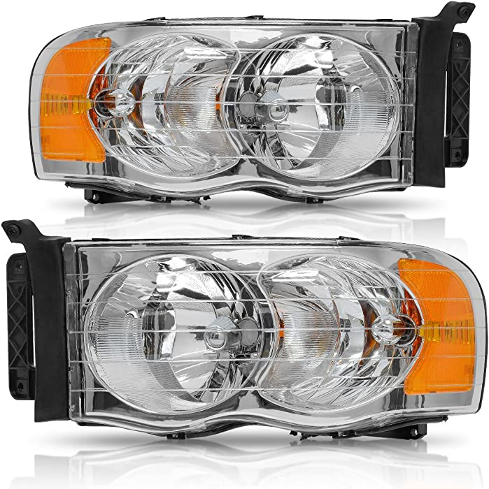 AUTOSAVER88 Headlight Assembly for 2002-2005 Dodge Ram Pickup Truck OE Style Replacement Headlamps Chrome Housing with Amber Reflector Clear Lens (Passenger and Driver side)