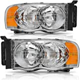 Headlight Assembly for 2002-2005 Dodge Ram Pickup Replacement Headlamp Driving Light Chromed Housing Amber Reflector Clear Lens,2 Year Warranty (pair)