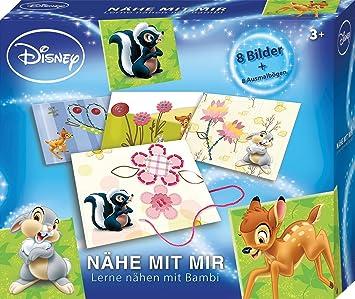 Lena 42638 Bastelset Disneys Bambi N/ähe mit mir farbigen Schn/üren und 8 Ausmalb/ögen Komplettset mit 8 lustigen Motiven aus Pappe zum Ausn/ähen N/ähset f/ür Kinder ab 3 Jahre Set zum N/ähen lernen