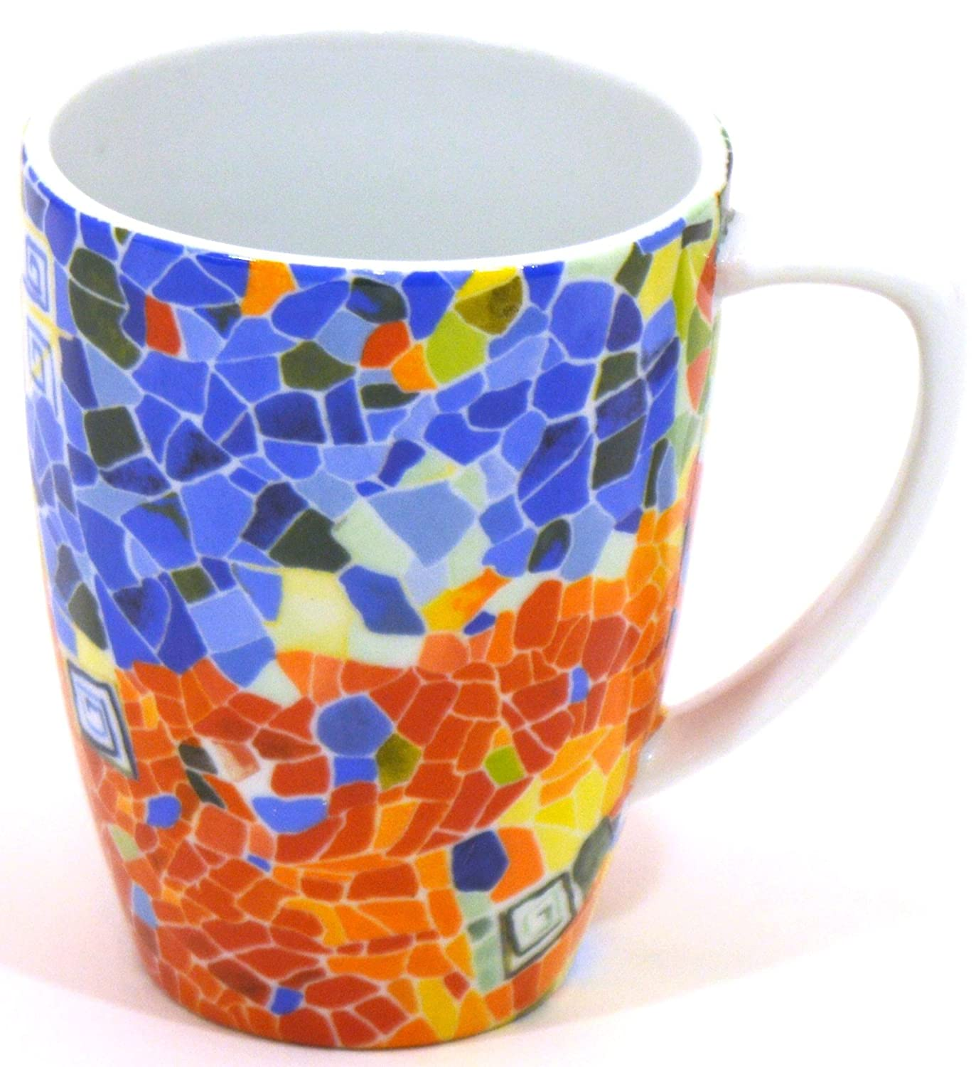 Amazon.com: ART ESCUDELLERS Porcelain Cup with Handle/Mug CONICO Decorated in TRENCADIS Gaudí Style. (Colour Aurora). 4.52 x 4.33 x 3.35: Kitchen & ...