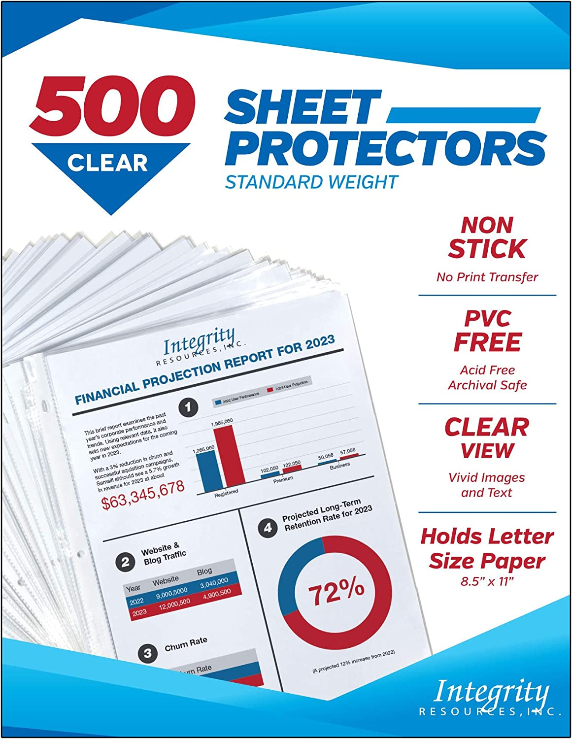 Integrity Resources Crystal Clear Durable Sheet Protectors, Archival Safe, PVC Free, Acid Free, Polypropylene, 8.5 x 11 Inch, Top Loading, 3 Hole Punched for 3 Ring Binder, Bulk Pack 500, 52500