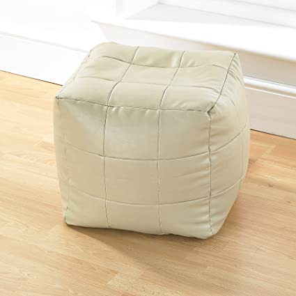 Terrific Taupe Faux Leather Bean Bag Footstool Patchwork Design Bean Luxury Bag Cube Evergreenethics Interior Chair Design Evergreenethicsorg