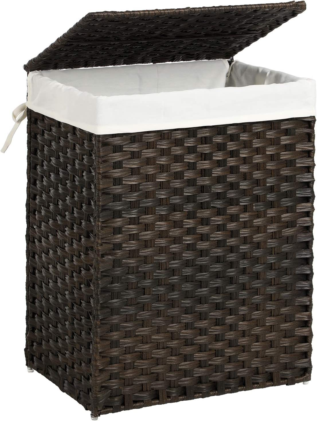 SONGMICS Handwoven Laundry Hamper, Synthetic Rattan Laundry Basket with Removable Liner Bag, Clothes Hamper with Handles for Laundry Room, Brown ULCB051K02