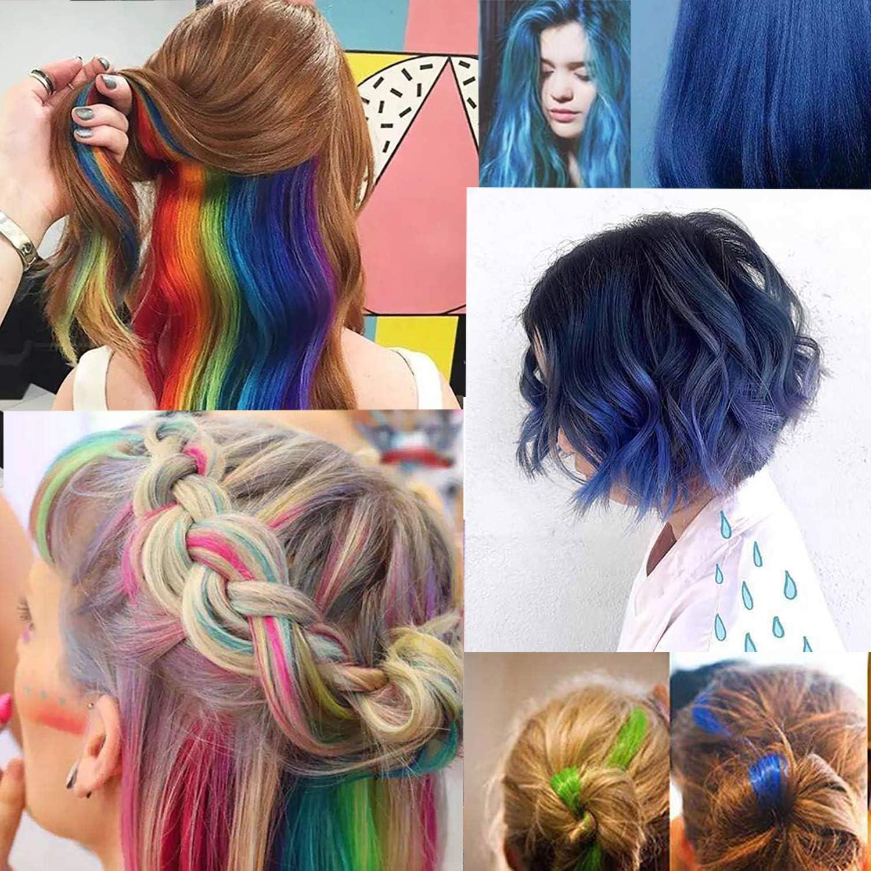 Extensiones de Cabello Colorido, 20 Piezas Extensiones de Pelo Natural 10 colors Hair Extensions con Clip para Fiestas Party