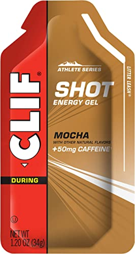 CLIF SHOT – Energy Gels – Mocha Flavor – 50mg Caffeine 1.2 Ounce Packet, 24 Count Packaging May Vary