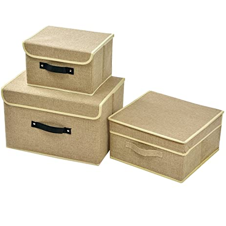 3 Pack Large Medium Small Linen Storage Box With Lid And Handle Foldable  Closet Organizer