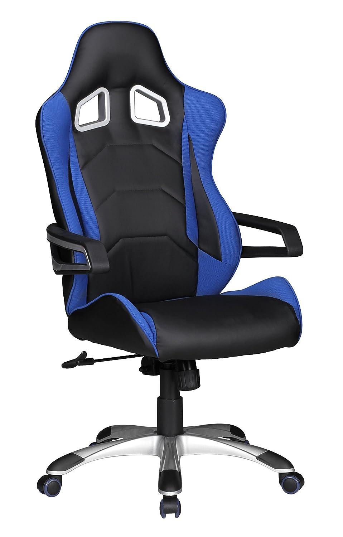 Amstyle Bürostuhl Speed Gaming Chefsessel mit Armlehne gepolstert Racer Sport-Sitz Drehstuhl Kopfstütze Race Schreibtischstuhl Gamer Design Modern Drehsessel Synchronmechanik bis 110kg Leder-Optik blau