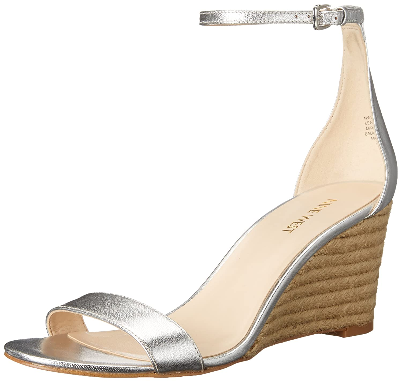 Nine West Women's Nicetoseeu Metallic Wedge Sandal B01HRUM4HC 8.5 B(M) US Silver