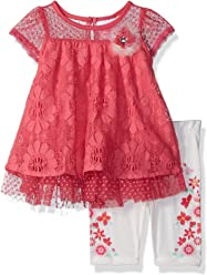 ca96058d8 Nannette Baby Girls 2 Piece Floral Lace Capri Set