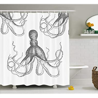 Ambesonne Octopus Shower Curtain, Ocean Inspired Sketch Art of an Animal with Long Tentacles Marine Life Undersea, Cloth Fabric Bathroom Decor Set with Hooks, 70  Long, White Grey