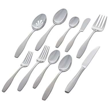 Stone & Beam Traditional Stainless Steel Flatware Silverware Set, Service for 12, 65-Piece, Silver with Square Brushed Trim