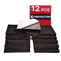 "Non Slip Furniture Pads X-PROTECTOR - Premium 12 pcs 3"" Furniture Pad! Best Furniture Grippers - SelfAdhesive Rubber Feet - Furniture Floor Protectors for Keep in Place Furniture & Furniture Stoppers"