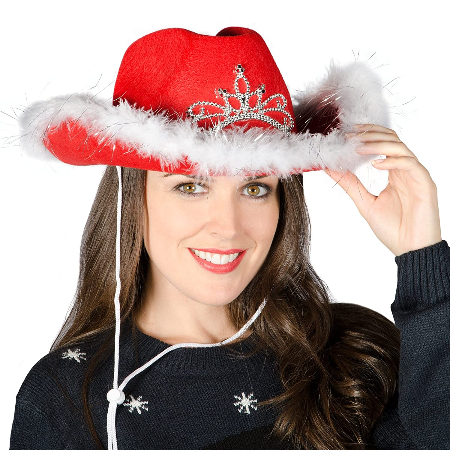 6 Christmas Festive Red Cowboy Hat / Feather Trim & Light Up Flashing LED Tiara xs-stock.com Ltd